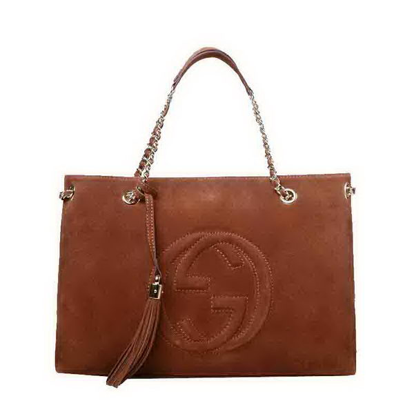 Gucci Soho Medium Tote Bag Suede Leather 308982 Brown
