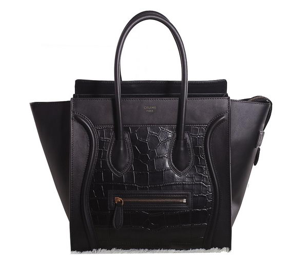 Celine Luggage mini Boston Bag Croco Leather 3308 Black