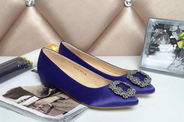 Manolo Blahnik Ballerina Satin Canvas MB077 Royal