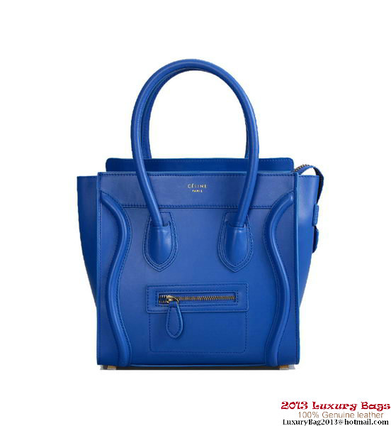 Celine Luggage Micro Tote Bag Nappa Leather Blue