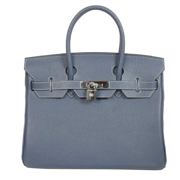 Hermes Birkin 30CM Tote Bags Smooth Togo Leather Dark Blue