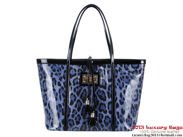Dolce & Gabbana Leopard Patent Leather Shoulder Bag M11530 Blue