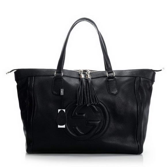 Newest 2012  Gucci Soho Large Tote Bag with Embossed Interlocking and Tassels 282306 Black