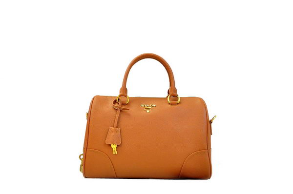 PRADA Grainy Leather Two Handle Bag BL0822 Camel