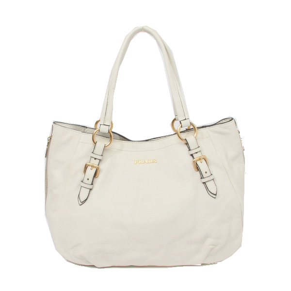 Prada Calfskin Leather Shoulder Bag BR4085 White