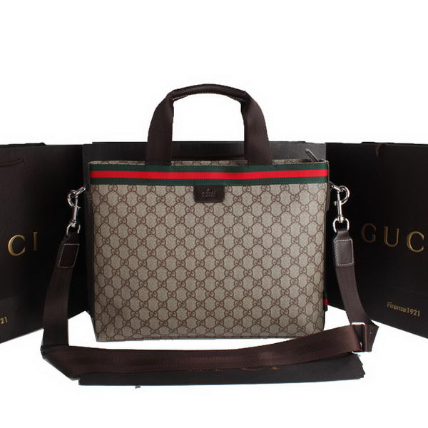 Gucci GG Supreme Canvas Briefcase 290117 Brown