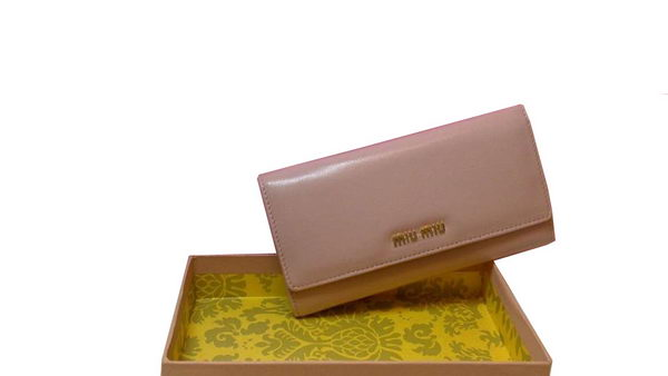miu miu Original Sheepskin Leather Wallet M1109 Light Pink