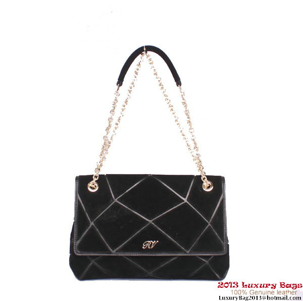 ROGER VIVIER Prismick Medium Gradient Suede Bag RV3608 Black&Silver