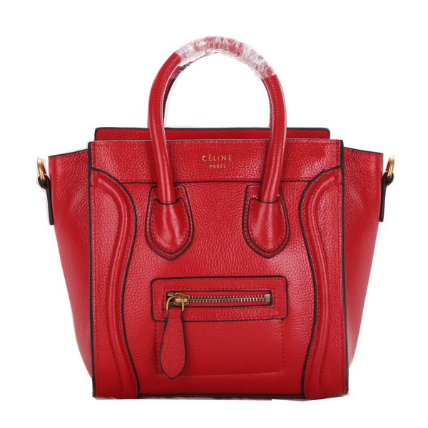 Celine Luggage Nano Bag Grainy Leather C106 Red
