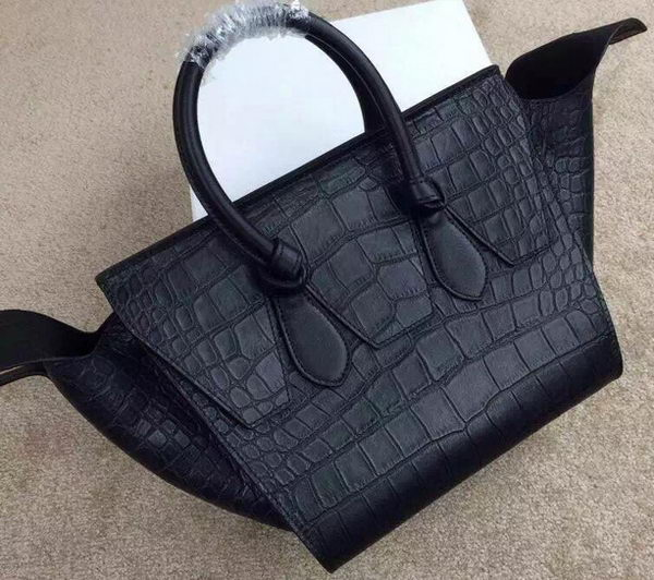 Celine Tie Nano Top Handle Bag Croco Leather CT98313 Black