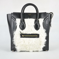 Celine Luggage Juboo Woman Handbag Black with Rabbit Hair