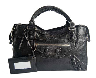 Balenciaga Lampskin Leather Handbag 084832 Dark gray