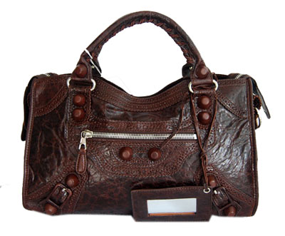 Balenciaga Lampskin Leather Handbag 084832 Coffee