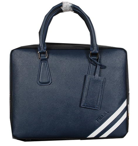 Prada Saffiano Leather Briefcase P241 Blue