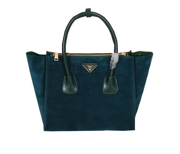 Prada Tote Bag Suede Leather BN2619 Green