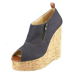 Christian Louboutin Deroba 140mm Denim Wedge Espadrilles Peep Toe