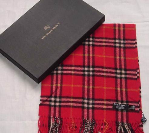 Burberry Wool Scarf Red A03