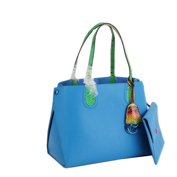 2014 Dior ADDICT Bag Two-Tone Smooth Calfskin Leather 17011 Blue