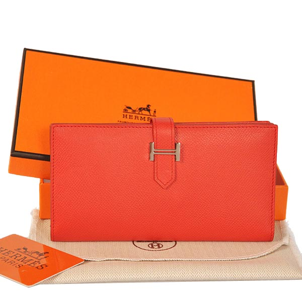 Hermes Bearn Wallet Original Smooth Leather Red