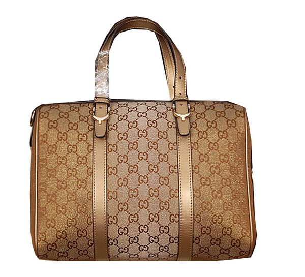 Gucci Nice GG Supreme Canvas Boston Bag 322231 Light Gold