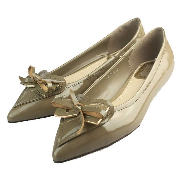 Chrisitan Dior Butterfly Point Toe Flats Patent Leather Grey