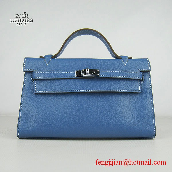 Hermes H008 cattle neck stripe medium blue bags