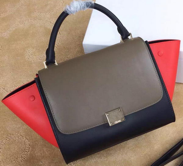 Celine mini Trapeze Bag Original Leather CTA3345 Khaki&Black&Red