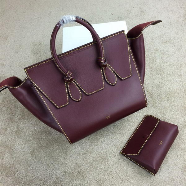 2015 Celine Tie Top Handle Bags Original Leather 98314 Burgundy