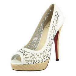 Christian Louboutin 130mm Sheepskin Laser-Cut Vamp White