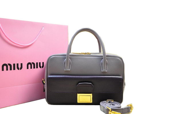 miu miu Soft Goat Leather Top Handle Bag RN0700 Grey&Black