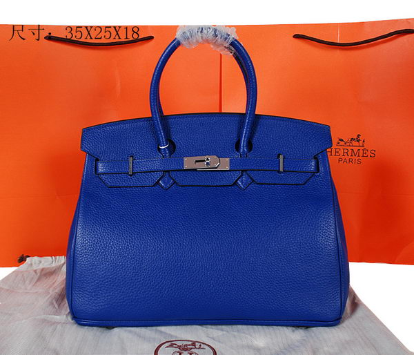 Hermes Birkin 35CM Tote Bag Blue Original Grainy Leather H35 Silver