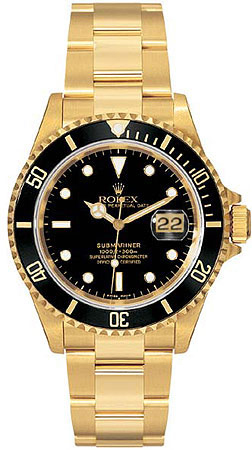 Rolex Submariner Series Submariner Date 18kt Yellow Gold Mens Wristwatch 16618-BKSO