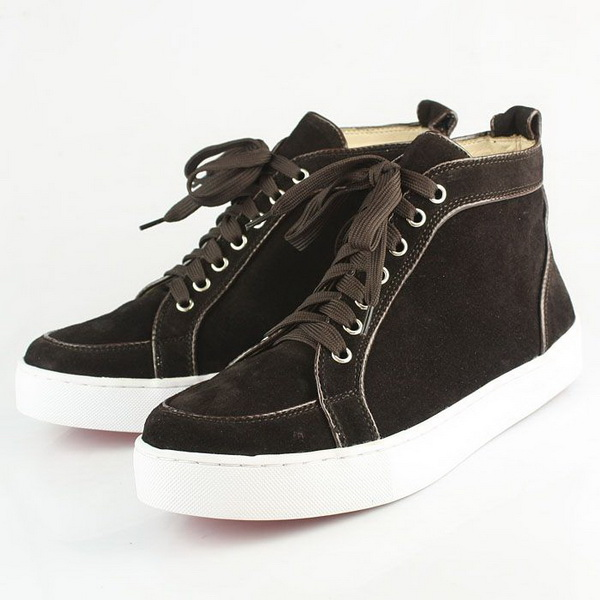 Christian Louboutin Men Suede Lace-Up Sneakers CL627 Dark Coffee