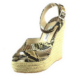 Jimmy Choo Pepper Espadrille Platforms Brown Snake Veins