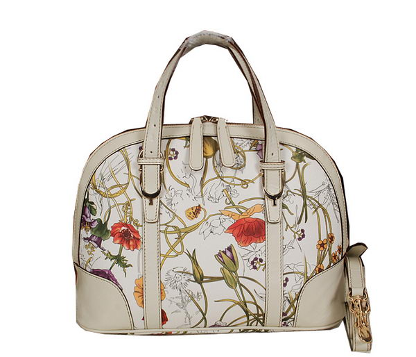 Gucci Vintage Flora Leather Top Handle Bag 309617 OffWhite