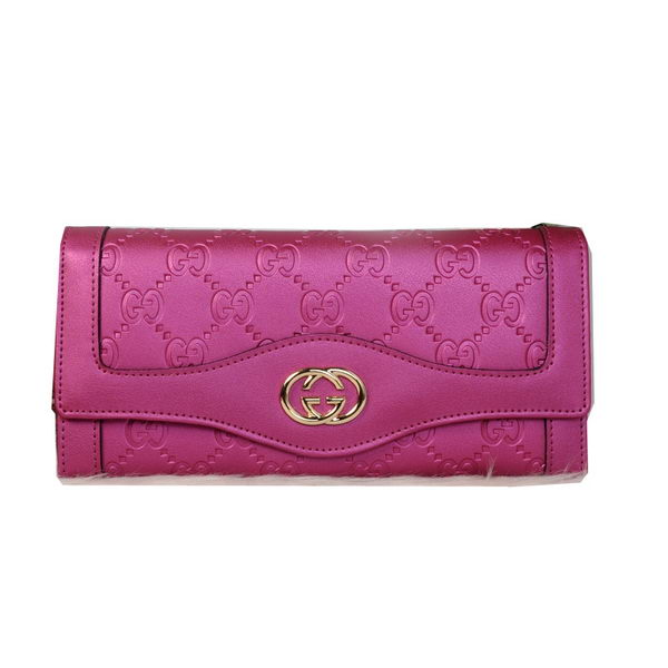Gucci Double G Continental Iridescent Leather Wallet 9526 Rose