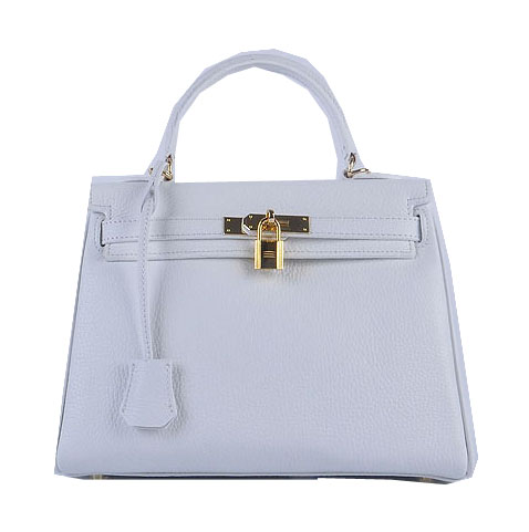 Hermes Kelly 28cm Shoulder Bags White Grainy Leather Gold