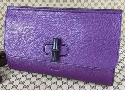 Gucci Bamboo Daily Leather Clutch 387220 Purple