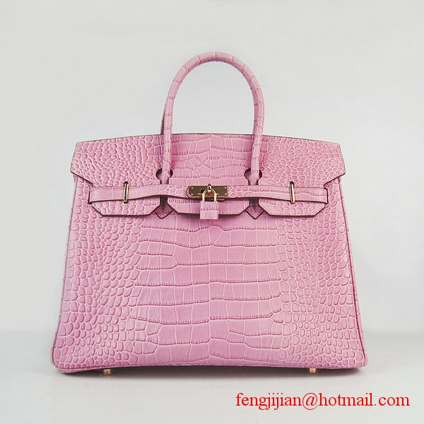 Hermes Birkin 35cm Crocodile Veins Leather Bag Pink 6089 Gold Hardware