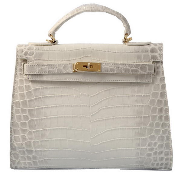 Hermes Kelly 32cm Shoulder Bags OFFWhite Croco Leather Gold
