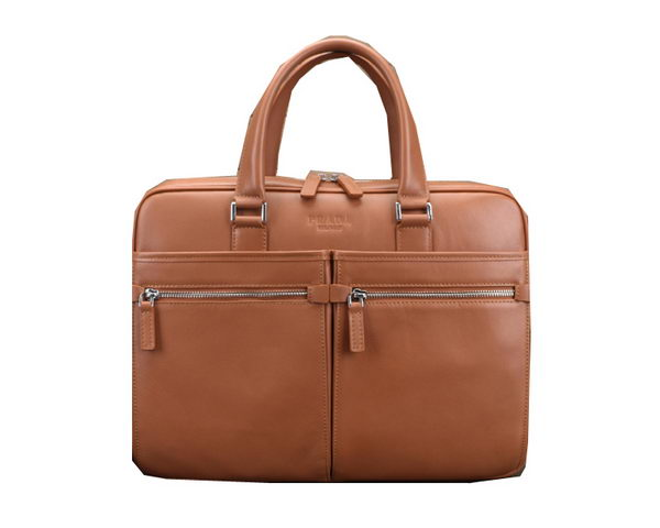 Prada Smooth Calf Leather Briefcase 801731 Wheat