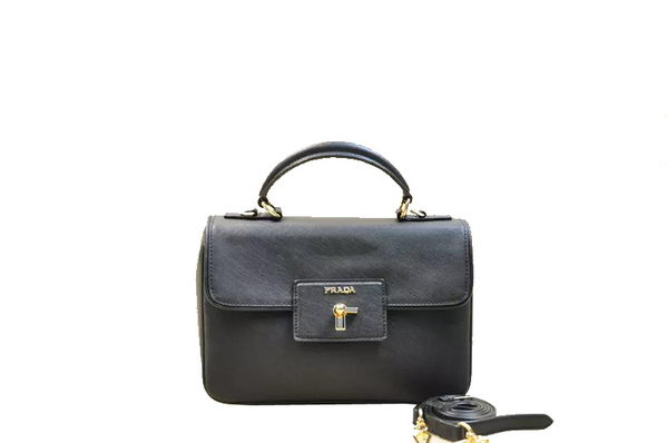 Prada Saffiano Leather Top Handle Bag BN2568 Black