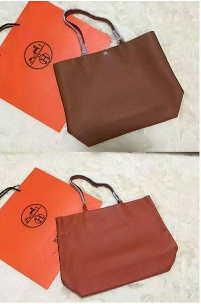 Hermes Shopper Double-Sided Bag Original Leather HS1209 Orange&Wheat