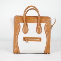 Celine Luggage Juboo Woman Handbag Light Coffee with White