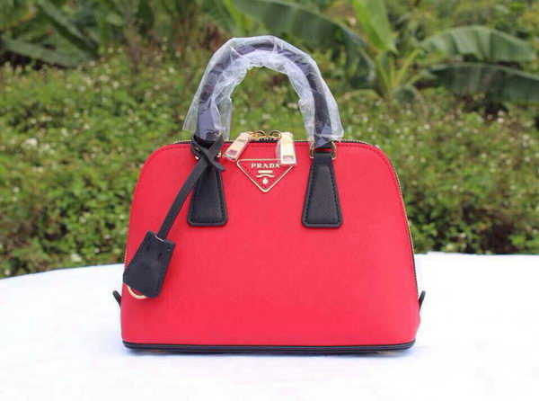 Prada Saffiano Leather Two Handle Bag BL0838P Red