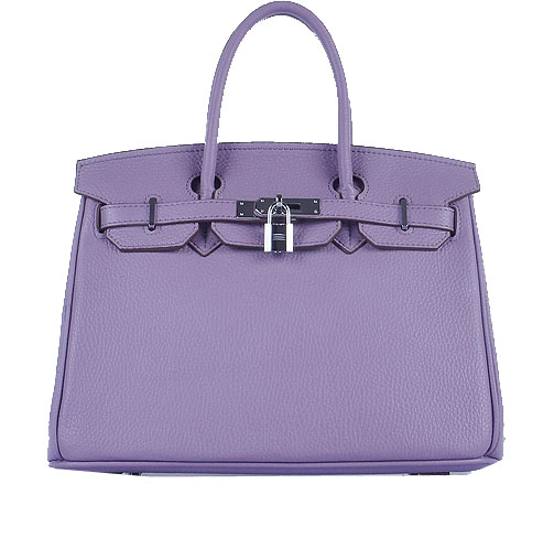 Hermes Birkin 30CM Tote Bags Light Lavender Grainy Leather Silver