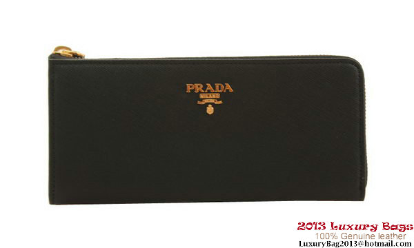 Prada PR1183 Black Saffiano Calf Leather Zippy Wallet