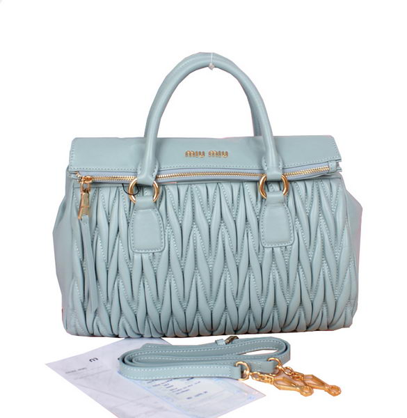 miu miu Matelasse Nappa Leather Top-Handle Bag 81215 Light Blue