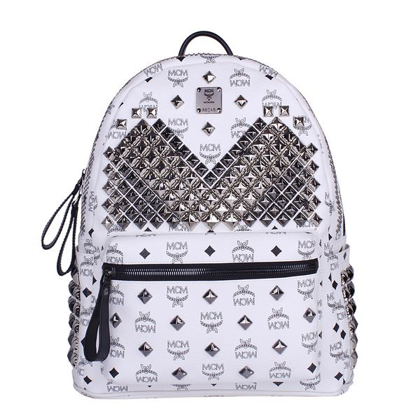 MCM Medium Stark Front Studs Backpack MC4237 White