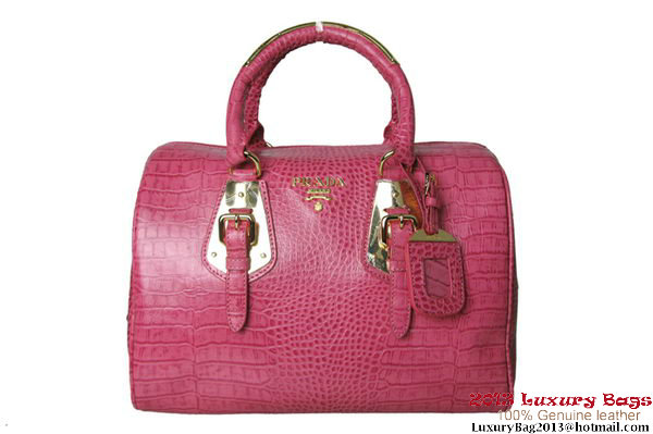 Prada Croco Print Leather Boston Bags BL0776 Peach